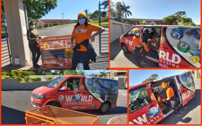 Team World Sports Betting delivers some supplies to the Aryan Benevolent home on Chatsworth